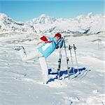 woman skier, Alps Mountains, Savoie, France Stock Photo - Royalty-Free, Artist: phbcz                         , Code: 400-06699611