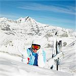 woman skier, Alps Mountains, Savoie, France Stock Photo - Royalty-Free, Artist: phbcz                         , Code: 400-06699612