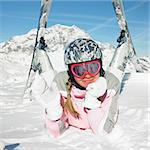 woman skier, Alps Mountains, Savoie, France Stock Photo - Royalty-Free, Artist: phbcz                         , Code: 400-06699613