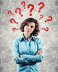 Red questions round a head of the beautiful girl Stock Photo - Royalty-Free, Artist: FotoVika                      , Code: 400-06700693