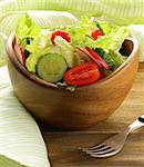 fresh spring salad with tomatoes and cucumber Stock Photo - Royalty-Free, Artist: Dream79                       , Code: 400-06700947