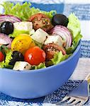 Delicious Greek salad for dinner. Stock Photo - Royalty-Free, Artist: lidante                       , Code: 400-06700953