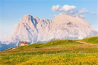 Wooden hut in front of Mount Langkofel, South Tyrol, Trentino Alto Adige, Italy Stock Photo - Premium Rights-Managednull, Code: 700-06701750