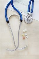 close-up of a stethoscope, an electrocardiogram report and pills Stock Photo - Premium Rights-Managednull, Code: 700-06701942