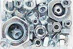Close-Up of Silver Colored Metal Nuts Stock Photo - Premium Rights-Managed, Artist: photo division, Code: 700-06701955