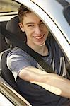 Smiling Teenage Boy Driving Car Stock Photo - Premium Rights-Managed, Artist: ableimages, Code: 822-06702293