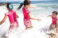 Girls in Matching Outfit Playing in Sea Water Stock Photo - Premium Rights-Managednull, Code: 822-06702326