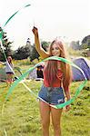 Teenage Girl Playing with Green Ribbon Stock Photo - Premium Rights-Managed, Artist: ableimages, Code: 822-06702327