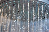 shower - Water Running from Showerhead, Close-up view Stock Photo - Premium Rights-Managednull, Code: 822-06702419