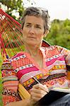 Woman on Hammock Writing Stock Photo - Premium Rights-Managed, Artist: ableimages, Code: 822-06702529