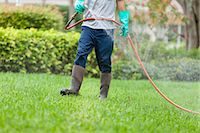 Pest control technician using high pressure spray gun and hose with heavy duty gloves Stock Photo - Premium Royalty-Freenull, Code: 6105-06702854