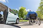 Man with muscular dystrophy and diabetes moving away from an accessible van Stock Photo - Premium Royalty-Freenull, Code: 6105-06702977