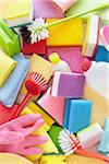 still life of cleaning products including sponges, bottles, rubber gloves, and scrub brushes Stock Photo - Premium Rights-Managed, Artist: photo division, Code: 700-06714077