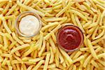still life of french fries with ketchup and mayonnaise Stock Photo - Premium Rights-Managed, Artist: photo division, Code: 700-06714112