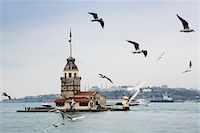 ships at sea - Turkey, Marmara, Istanbul, Uskudar, Maiden's Tower (Leander's Tower) over the Bosphorus Strait Stock Photo - Premium Rights-Managednull, Code: 700-06714221