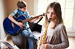 Children playing music together Stock Photo - Premium Royalty-Free, Artist: ableimages, Code: 649-06716499