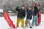 Children having snowball fight Stock Photo - Premium Royalty-Free, Artist: ableimages, Code: 649-06717357