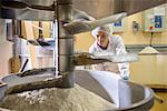 Worker with machinery in biscuit factory Stock Photo - Premium Royalty-Free, Artist: Blend Images, Code: 649-06717639