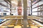 Worker examining biscuits in factory Stock Photo - Premium Royalty-Free, Artist: RelaXimages, Code: 649-06717690