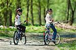 Girls riding bicycles in park Stock Photo - Premium Royalty-Free, Artist: Blend Images, Code: 649-06717905