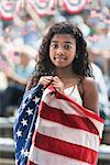 Girl at rally wrapped in american flag Stock Photo - Premium Royalty-Free, Artist: CulturaRM, Code: 614-06718159