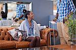 Couple shopping for furniture in store Stock Photo - Premium Royalty-Free, Artist: Blend Images, Code: 614-06718331