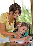 Mother helping daughter with homework Stock Photo - Premium Royalty-Free, Artist: Blend Images, Code: 614-06718882