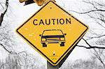 Snowy 'caution' road sign Stock Photo - Premium Royalty-Free, Artist: Universal Images Group, Code: 614-06718937