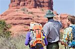 Hikers talking to park ranger Stock Photo - Premium Royalty-Free, Artist: Beyond Fotomedia, Code: 614-06719146