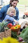 Father and son at farmer's market Stock Photo - Premium Royalty-Free, Artist: R. Ian Lloyd, Code: 614-06719245