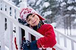 Boy hugging railing in snow Stock Photo - Premium Royalty-Free, Artist: Cultura RM, Code: 614-06719341