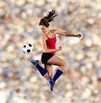 Soccer player kicking ball in air Stock Photo - Premium Royalty-Free, Artist: Siephoto, Code: 614-06719875