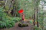 Woman with umbrella walking in forest Stock Photo - Premium Royalty-Free, Artist: CulturaRM, Code: 614-06719905