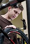 Mechanic working in bicycle repair shop Stock Photo - Premium Royalty-Free, Artist: Transtock, Code: 614-06719978
