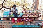 Man selling religious offering and water bottles, Haridwar, Uttarakhand, India Stock Photo - Premium Rights-Managed, Artist: Photosindia, Code: 857-06721469