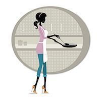 Woman cooking food in the kitchen Stock Photo - Premium Royalty-Freenull, Code: 630-06723592