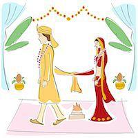 Newlywed couple at wedding ceremony Stock Photo - Premium Royalty-Freenull, Code: 630-06723842