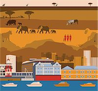Montage of Cape Town waterfront with South African wildlife and tribal people Stock Photo - Premium Royalty-Freenull, Code: 630-06723947