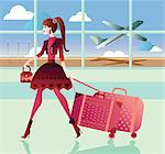 Woman pulling her luggage at an airport Stock Photo - Premium Royalty-Free, Artist: Robert Harding Images, Code: 630-06724069