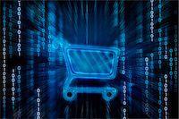 Shopping cart on binary digits Stock Photo - Premium Royalty-Freenull, Code: 630-06724137