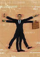 represented - Businessman representing Leonardo da Vinci's Vitruvian Man Stock Photo - Premium Royalty-Freenull, Code: 630-06724250
