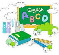 education concept - School blackboard with books and pencil Stock Photo - Premium Royalty-Freenull, Code: 6111-06727544