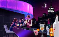 Illustration of people at the bar counter Stock Photo - Premium Royalty-Freenull, Code: 6111-06728573