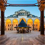 Turkey, Marmara, Istanbul, Fatih Mosque Courtyard at Dusk Stock Photo - Premium Rights-Managed, Artist: Siephoto, Code: 700-06732688
