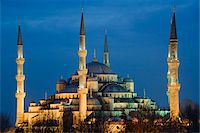 Turkey, Marmara, Istanbul, Blue Mosque, Sultan Ahmed Mosque at Dusk Stock Photo - Premium Rights-Managednull, Code: 700-06732770