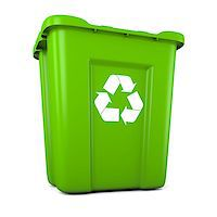 3D model of empty green plastic recycle bin Stock Photo - Royalty-Freenull, Code: 400-06735709