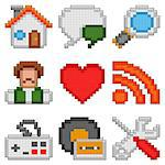 Set of 9 pixel web icons. Stock Photo - Royalty-Free, Artist: timurock                      , Code: 400-06736724