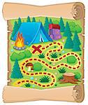 Camping theme map image 1 - vector illustration. Stock Photo - Royalty-Free, Artist: clairev                       , Code: 400-06737459
