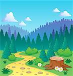 Forest theme image 2 - vector illustration. Stock Photo - Royalty-Free, Artist: clairev                       , Code: 400-06737476
