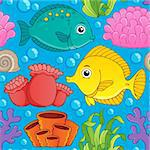 Seamless background sea theme 1 - vector illustration. Stock Photo - Royalty-Free, Artist: clairev                       , Code: 400-06737503